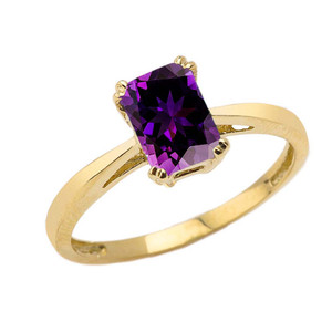 1 CT Emerald Cut Amethyst CZ Solitaire Ring in Yellow Gold