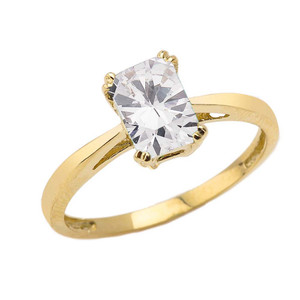 1 CT Emerald Cut CZ Solitaire Ring in Yellow Gold