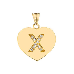 """Diamond Initial """"X"""" Heart Pendant Necklace in Yellow Gold"""