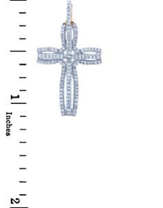 Fancy Openwork Gold Cross Diamond Pendant