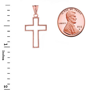 """Two Sided Beaded Open Cross Pendant Necklace in Rose Gold (1.2"""")"""