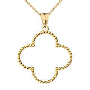 "Beaded Open Clover Pendant Necklace in Yellow Gold (1.3"") LG"