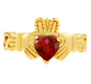 Gold Claddagh Trinity Band with Ruby Red  CZ Heart