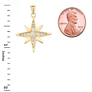 Diamond North Star Pendant Necklace in Yellow Gold