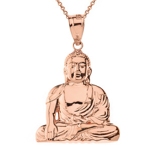 Solid rose gold zen buddhist meditation buddha pendant necklace aloadofball Image collections