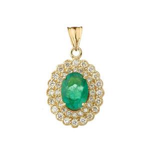 Genuine Emerald & Diamond Pendant Necklace in Yellow Gold