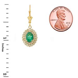 Genuine Emerald & Diamond Earrings  in Yellow Gold
