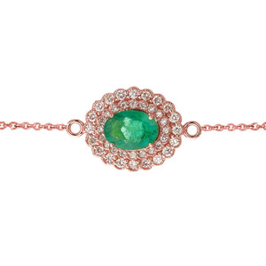 Genuine Emerald & Diamond Bracelet in Rose Gold