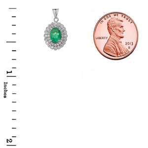 Genuine Emerald & Diamond Pendant Necklace in White Gold
