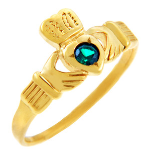 14K Gold Claddagh Ring with CZ Emerald Heart
