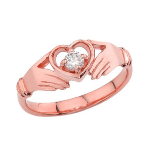 .15 CT Diamond Classic Claddagh Ring in Rose Gold