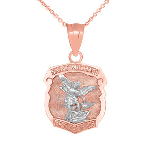 Saint Michael Protect Us Shield Pendant Necklace in Two Tone Rose Gold