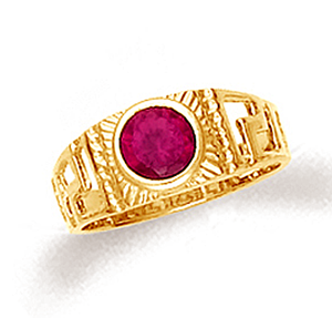 Baby ring with greek key design and ruby red cubic zirconia in 10k or 14k gold.