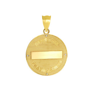 Divine Mercy Round Medallion with Diamonds Pendant Necklace in Yellow Gold
