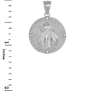 Divine Mercy Round Medallion with Diamonds Pendant Necklace in White Gold