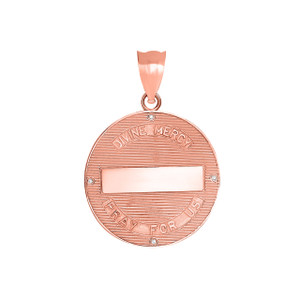 Divine Mercy Round Medallion with Diamonds Pendant Necklace in Rose Gold