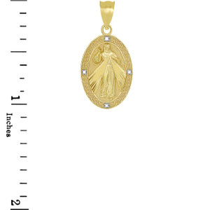 Divine Mercy Oval Medallion with Diamonds Pendant Necklace in Yellow Gold