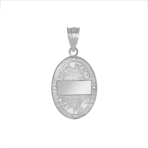 Divine Mercy Oval Medallion with Diamonds Pendant Necklace in White Gold