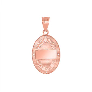 Divine Mercy Oval Medallion with Diamonds Pendant Necklace in Two Tone Rose Gold