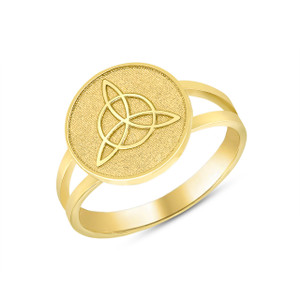 Celtic Trinity Knot Design Disc Ring in Yellow Gold