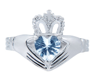 Silver Claddagh Ring with Aquamarine Birthstone.