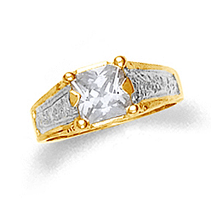 10k or 14k two-tone gold baby ring with clear cubic zirconia.