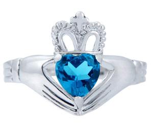 Silver Claddagh Ring with Blue CZ Birthstone.