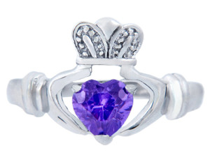 Silver Claddagh Ring with Alexandrite CZ Heart