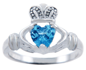 Silver Claddagh Ring with Blue CZ Heart