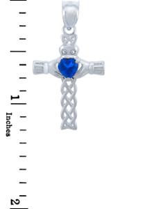 Silver Celtic Cross Pendant with Sapphire CZ Heart