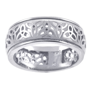 White Gold Celtic Trinity Knot Wedding Ring