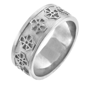 White Gold Celtic Cross Wedding  Ring Band