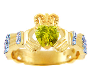 Gold Diamond Claddagh Ring with 0.40 Carats of Diamonds and a Citrine Birthstone.  Available in 14k and 10k Gold.
