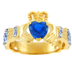 Gold Diamond Claddagh Ring 0.40 Carats with Sapphire Stone