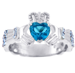 White Gold Diamond Claddagh Ring 0.40 Carats with Blue Topaz Stone
