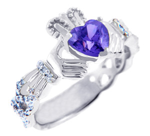 White Gold Diamond Claddagh Ring 0.40 Carats with Alexandrite Stone