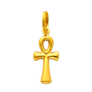 14K Gold Egyptian Ankh Cross Small Pendant