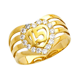 """15 Anos"" CZ Yellow Gold Ring"