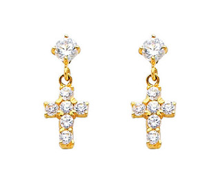 14K Cross Stud Earrings with Cubic Zirconia
