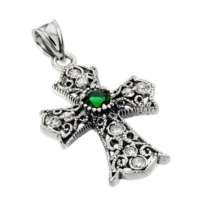 Oxidized Sterling Silver Celtic Cross Pendant with Emerald and CZ