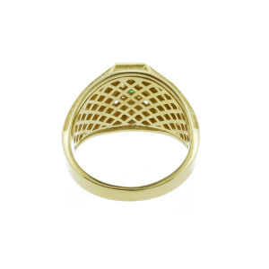 Yellow Gold Celtic Cross Green CZ Mens Emerald Ring