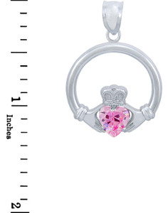 Silver Claddagh Pink CZ Heart Pendant (L)