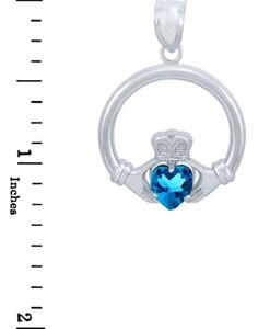 Silver Claddagh Blue CZ Heart Pendant (L)