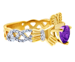 18K Yellow Gold Diamond Claddagh Ring With 0.4 Ct  Amethyst