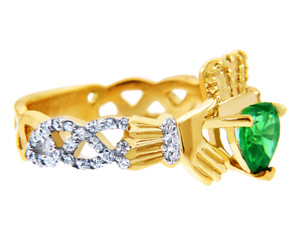 18K Yellow Gold 0.4 Ct Diamond Band Claddagh Ring With and 1.10 Ct Emerald Colored Stone