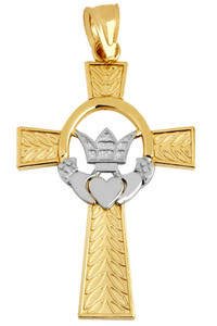 Two-Tone Gold Claddagh Irish Cross Pendant Necklace