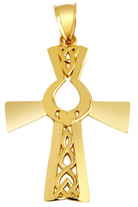 Irish Gold Cross With Claddagh Pendant