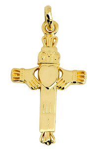 Cross With Claddagh Gold