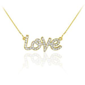 "14K Gold ""Love"" CZ Necklace"