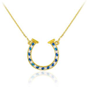 14K Gold Diamond & Blue Sapphire Horseshoe Necklace